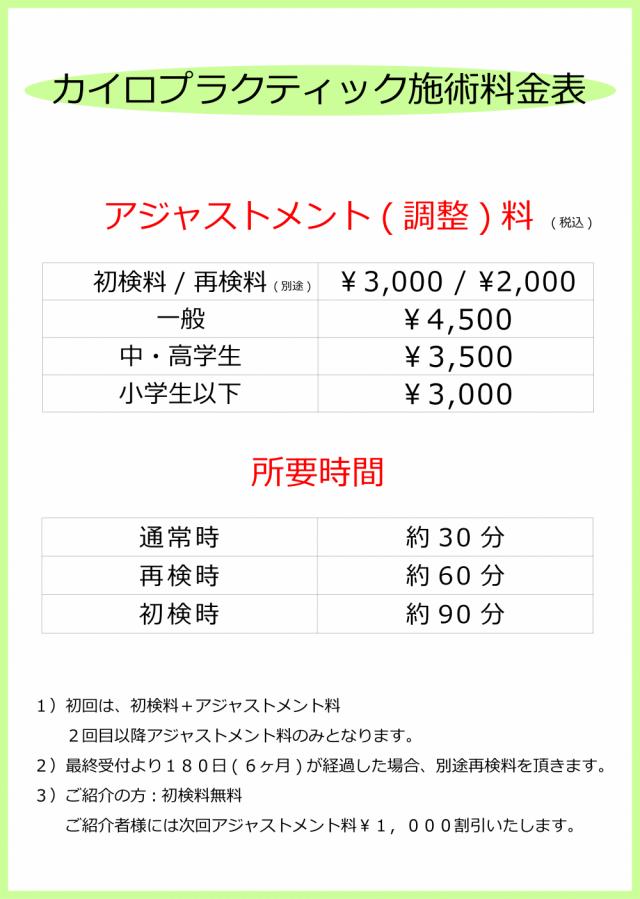 料金表。千葉県柏市で整体なら宮田カイロプラクティックにお任せください。