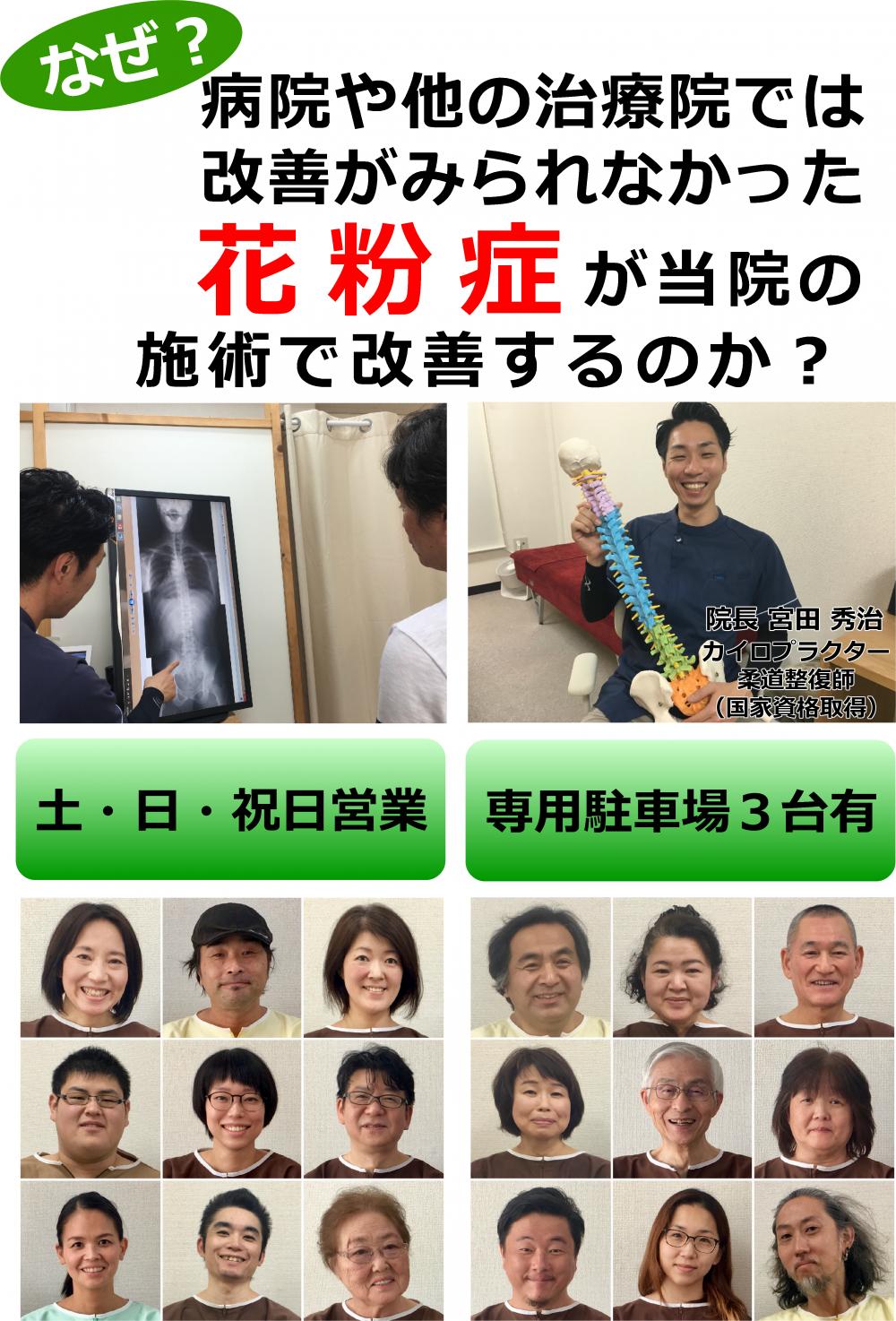 あなたの「花粉症」を根本改善しませんか?千葉県柏市のカイロプラクティック整体院「宮田カイロプラクティック」にお任せ下さい!