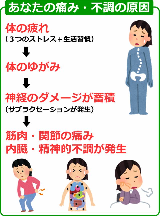 あなたの痛み・不調の原因画像。千葉県柏市で整体院をお探しなら宮田カイロプラクティック!